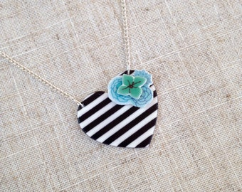Heart necklace - Stripe necklace - Flower necklace - Statement necklace - Gift for her - Small heart