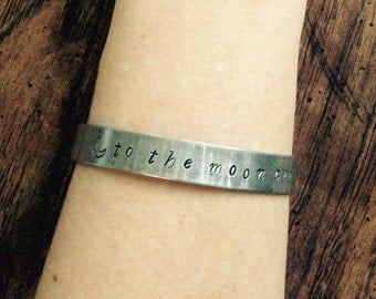 Hand stamped personalized cuff bracelet