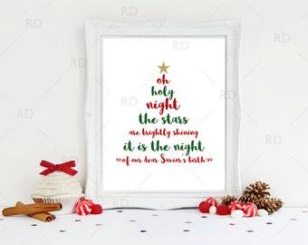 Oh holy night the stars are brightly shining - PRINTABLE Wall Art / Oh holy night print / Christmas tree shape / Christmas Lyrics / Xmas