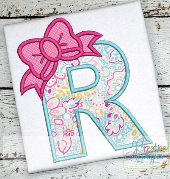 ebow the letter bow letter r applique machine embroidery design 4 sizes bow 21439