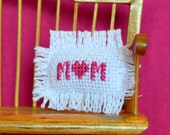 Mother's Day Dollhouse Miniature Cross Stitch Pillow With Heart