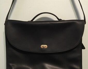 Black Messenger Bag / Emp-Orr / Gold Clasp
