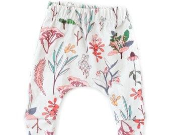 floral harem pants, organic baby leggings, girl harem pants, organic harem pants, sarouel pants, toddler harem pants, kids pants