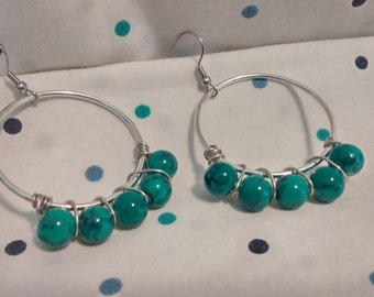 Aqua-Green Marble Hoop Earrings