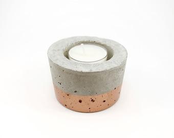 Small Concrete Candle Holder | Copper