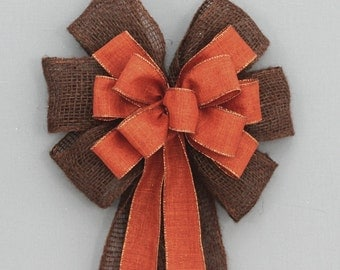 Brown Burlap Burnt Orange Rustic Fall Bows Wedding Pew Bows