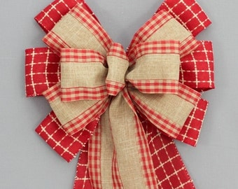 Red Rustic Burlap Christmas Wreath Bow - Mantel Bow, Garland Bow, Christmas Tree Topper Bow, Burlap Christmas, Country Christmas Bow