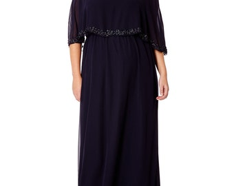 US24 UK28 AUS28 EU56 Carolyn Navy Blue Plus size Prom Maxi Cape Dress 20s inspired Flapper Gatsby Art Deco Wedding Bridesmaid Downton Abbey