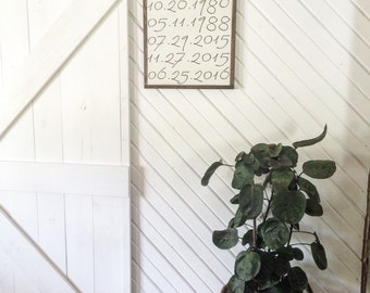 Important dates wood sign wood sign*typography important dates*family birthdates*gift* 15x15