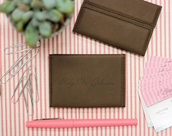 Hard Dark Brown Business Card Holder, Leather Card Holder Personalized --32005-BC01-108