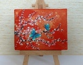 Tiny Orange and Gold Canvas, Pink Cherry Blossom with Butterflies Original Acrylic Painting, Miniature Artwork