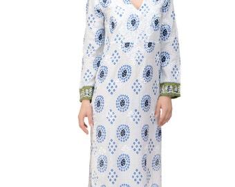 The Alexandra Kaftan / Maxi Dress - Blue with Hand Embroidery