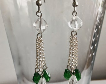 Clear and Green Chain Dangle and Drop Earrings