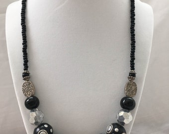 Beaded Black and Silver Necklace