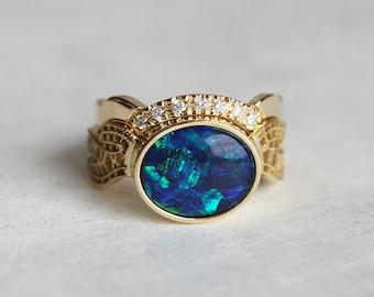 opal wedding ring set opal wedding set oval opal ring with matching diamond crown - Black Opal Wedding Rings