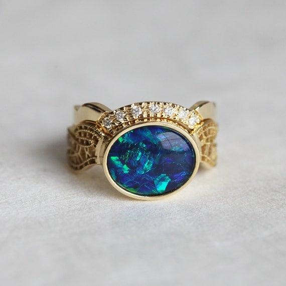 Opal Wedding Ring Set Opal Wedding Set Oval Opal Ring With