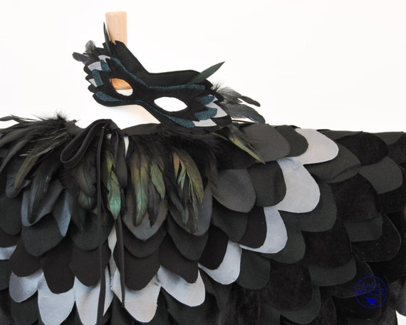 Kids Mockingjay Costume | Halloween Maleficent Costume | Childrens Raven Cape | Crow Bird Wings | Harry Potter Bird Capefor - made to order