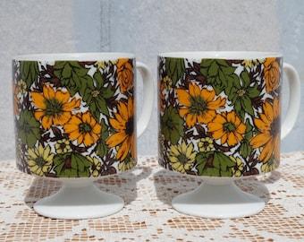 1960s Vintage Floral Pedestal Mugs, Coffee Cups