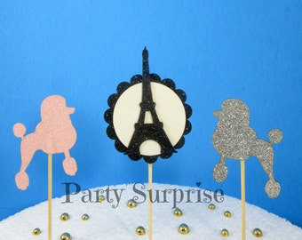 Paris Poodle Cupcake Toppers Pink and Silver Glitter Poodle Cake Cupcake Toppers Paris Party Decoration Dog Party Cupcake Toppers