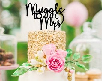 Harry Potter Cake Topper, Muggle to Mrs Cake Topper, Harry Potter Bridal Shower, Muggle Cake Topper, Harry Potter Decorations, Muggle to Mrs
