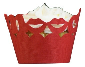 Red Smooch Cupcake Wrappers, 12pcs