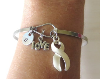 White LOVE HOPE Customizable Awareness Charm Stainless Steel Bangle Bracelet With Optional Love Hope and Letter Charm