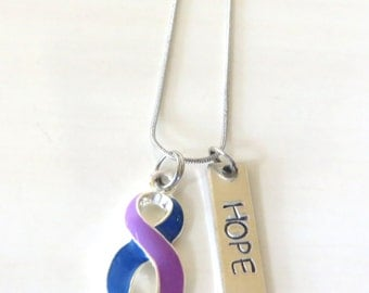 Rheumatoid Arthritis Customizable Awareness Ribbon Stainless Steel Charm Necklace with Optional Add On Charms