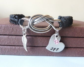 BFF Memorial Angel Wing Crystal Birthstone Hand Stamped Love Knot Bracelet You Choose Your Birthstone Charm and Cord Color(s)