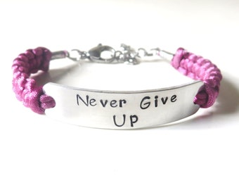Never Give Up Inspirational Hand Stamped Bracelet You Choose Your Cord Color