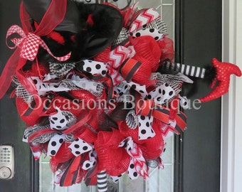 Halloween Wreath, Witch Wreath, Fall Wreath, Halloween Decoration, Front door wreath, Large wreath, Wicked Witch