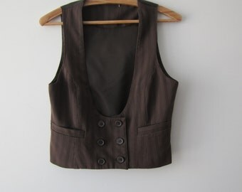 Women Brown Striped Waistcoat Double-Breasted Button Everyday Fitted Vest Small Size