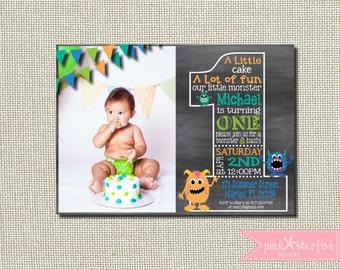 Monster Birthday Invitation, Little Monster Birthday, Chalkboard Birthday Invitation, Chalkboard Invitation, Digital Printable Invitation