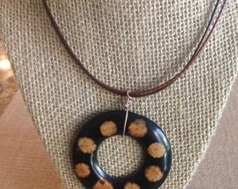 Inlay Pendant with a leather adjustable necklace.