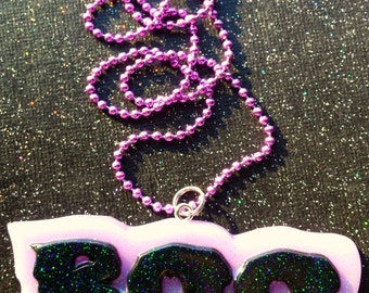 Pastel Goth BOO Pendant / Creepy Cute Jewelry / Purple and Black Jewelry / Horror Necklace / Gothic Necklace / Cute and Creepy / Gothic Gift