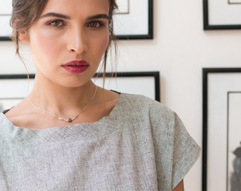 sterling silver pendant necklace silver necklace pendant - silver minimalist necklace silver - oxidized necklace - geometric jewelry