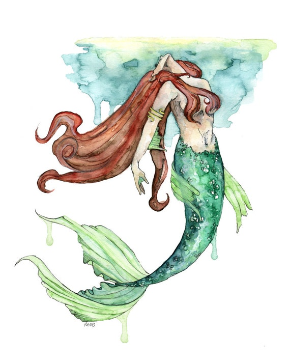 watercolor mermaid painting print titled to the