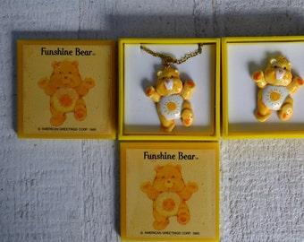 NOS Vtg Care Bears Jewelry Your Choice Pendant Necklace Pin Funshine Bear Pin Funshine Bear Pendant Yellow Bear Sunshine Tummy Kawaii 1980s