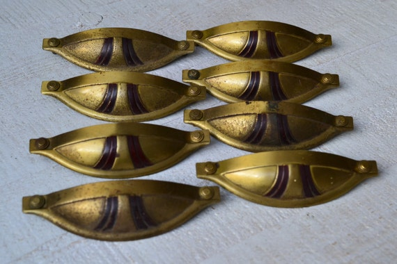 lot of 8 art deco cup pull drawer pulls antique nantucket cup brass oxblood red enamel detail boudoir dresser pulls red u0026 gold cup pulls apv from