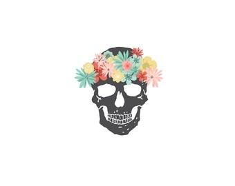 skull temporary tattoo flower crown skull skeleton tattoos floral tattoos girly skull pirate bones valentines day gift for teens sugar skull
