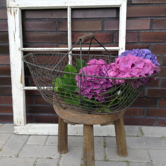 French Wire Basket Vintage Harvest Basket With Wood Handle