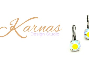 SAND OPAL AB 8Mm Crystal Chaton Drop Earrings Made With Swarovski Elements *Pick Your Finish *Karnas Design Studio *Free Shipping*