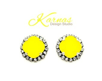 YELLOW OPAL & HALO Crystal 12mm Earrings 2017 Cushion Cut Studs Swarovski Elements *Antique Silver *Karnas Design Studio *Free Shipping