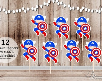 12 Captain America Inspired -  Action Superhero Cupcake Toppers - Party Picks - Food Picks - Cupcake Toppers