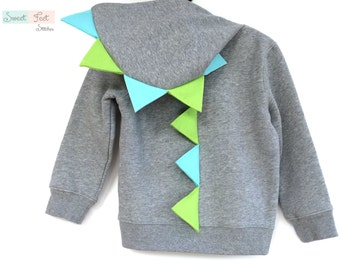 3T Gray Dinosaur Hoodie with Green & Aqua Spikes