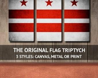 The Original Washington DC Flag Triptych (Canvas, Metal or Print)
