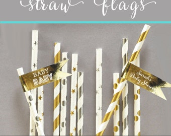 Baby Shower Straw Flags -  Girl Pink and Gold Baby Shower Straw Tags Mint and Gold Baby Shower Decor Labels (EB2351FB) set of 20  labels