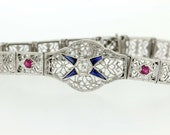 14K Gold Filigree Bracelet with Rubies, Sapphires, and Diamonds