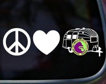 PEACE LOVE AIRSTREAM Vinyl Decal Sticker