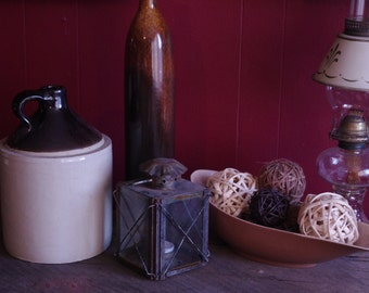 Antique Stoneware Moonshine Whiskey Crock Jug with Standard Glaze