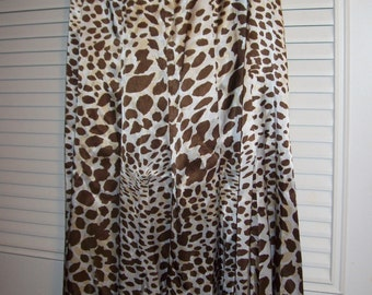 Skirt 12, Sharon Young Brown Dalmation Maxi Skirt - So Much Fun !  Size 12